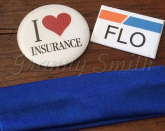 """The 3 piece """"Flo Progressive inusrance"""" I love insurance pin and name badge set with blue headband (Apron NOT included) actress, agent"""