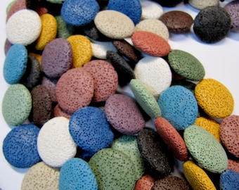 Lava Beads, All Natural, Multi Color, 25 MM Flat Round,  14 PC, Use With Essential Oils, Diffuser Beads, Diffuser Pendant, Diffuser Balls