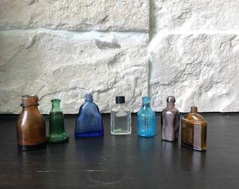 Vintage Miniature apothecary bottle set - medicine mini bottles - apothecary bitters bottles - blue green yellow vintage bottles -