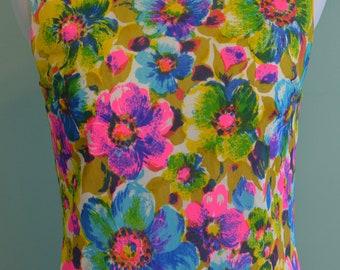 60s Mod Flower Power Shift Dress Psychedelic Op Art Knee Length Sleeveless Dress Vibrant Neon