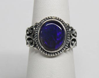 2.4ct Lightning Ridge Opal Ring .925 sterling silver adjustable band