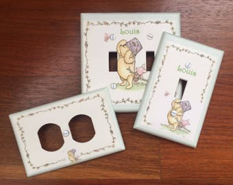 Classic Winnie the Pooh classic light switch plate cover baby nursery Personalized // SAME DAY SHIPPING**