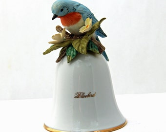 FREE SHIPPING, Bluebird Bell, Enesco, Vintage, 1988, National Audubon Society, Porcelain Bell