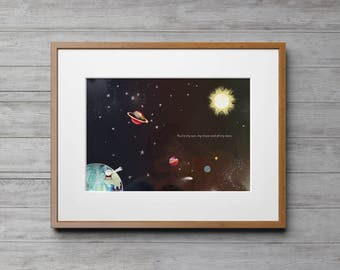 Space Art, Outer Space Decor, Space Print, Wall Art, Outer Space Nursery, Outer Space, Nursery Decor, Moon and Stars, Moon and Stars Nursery