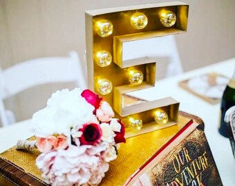 Marquee Letter with Bulbs-Custom Marquee Letter-Wedding Letter-Birthday Letter-Led Lights-Clear Bulbs-Chose any color