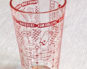 Federal Glass Bar Measuring Mixing Glass- Red