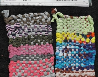 Pair of Handmade, recycled cotton Potholders in browns, greens and pinks