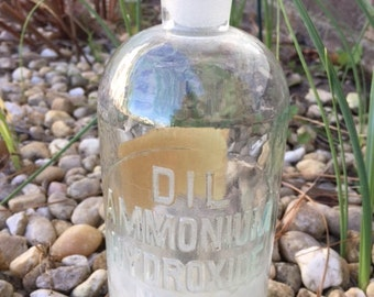 Vintage Chemistry Bottle-1960s-Raised Letters On Bottle-Paper Label-Glass Bottle-Apothecary Bottle-DIL AMMONIUM HYDROXIDE NH4OH-made in usa