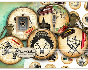 Cabochon images Cinema,Movies - Digital Collage Sheet 1.5 inch 16 mm 12 mm 1 inch circle Printable images Instant download bottle caps C249