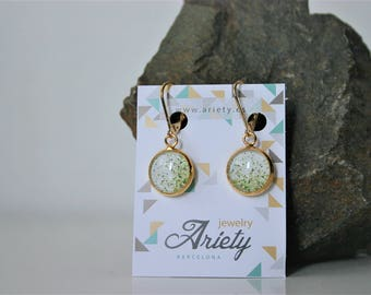 Gold pendant earrings with image, hypoallergenic