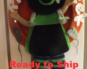 Crochet Halloween Witch Wreath