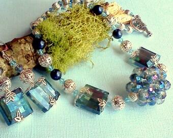 Blue Necklace Set, Handmade Blue Necklace, Blue Dangle Earring Set, Multi Color Blue Set, Swarovski Pearl Set, Vintage Style Set, Ocean Blue