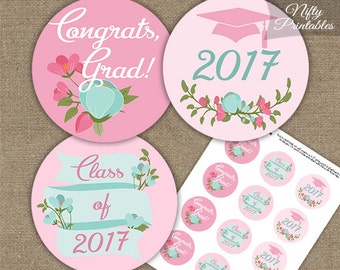 Pink Graduation Cupcake Toppers - Printable 2017 Graduation Decorations - Pink Mint Floral Grad Party Printable - Girls Graduation Toppers