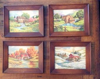 Four Seasons Vintage pictures....set of four.....dark hardwood frames......stone barn