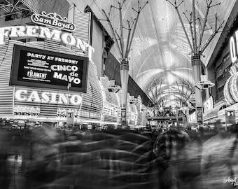 Fremont Street, Las Vegas, Black and White, old Vegas, night photography, long exposure, street, ghostly, fine art photography print