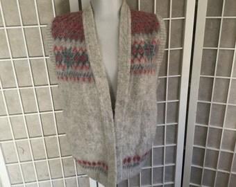 Vintage Soft Wool Vest 1970s Large or Medium