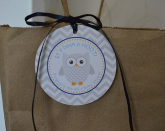 Owl Theme Favor Tags - Owl Gift Tag - Owl Baby Shower - Baby Shower Favor Tag - Navy Blue and Gray - Set of 12  Owl Party - It's Been a Hoot
