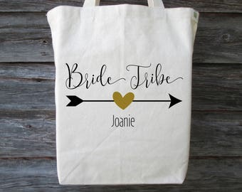 Bride Tribe Tote, Personalized Bride Tribe Tote, Bachelorette Party, Bridal Shower, Bridal Party Tote, Bride Tribe, Wedding Party Tote