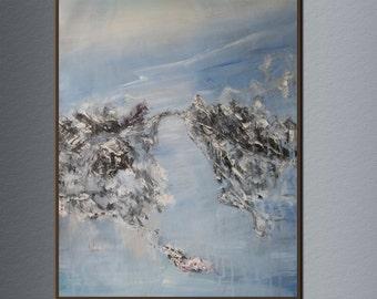 """33""""x25""""Cliff water oil painting original ,oil painting abstract , oil painting on canvas , oil painting seascape  LU-013 by Lucas Wu"""