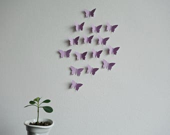 25 x 3D butterflies in lilac or violet  wall decoration wall tattoo butterflies swarm