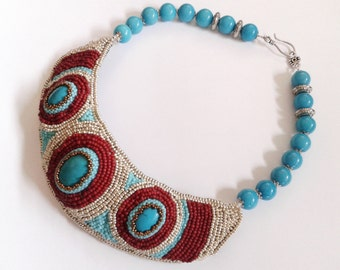 blue and red bead embroidery collar necklace, bead embroidery necklace, turquoise gemstone necklace, turquoise chocker, handmade necklace,