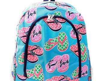 Personalized Aqua & Multi Color Flip Flops Print Backpack * Bookbag with Monogram or Name * Custom Monogrammed Book bag * Embroidered Gift