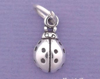 LADYBUG Charm .925 Sterling Silver, Lady Bug MINIATURE Small - elp640
