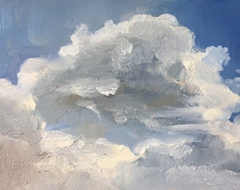 Clouds, skyscape, original daily oil painting on panel 20x15cm