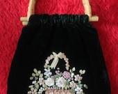 Vtg 90's BOHEMIAN forest green velvet and ribbon bamboo handles purse