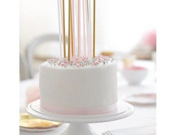 16 Birthday Pink, White and Gold long Candles