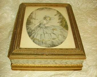 Antique Victorian Southern Belle Litho Dresser Box/Mirrored Dresser Box/Hankies,Glove Box