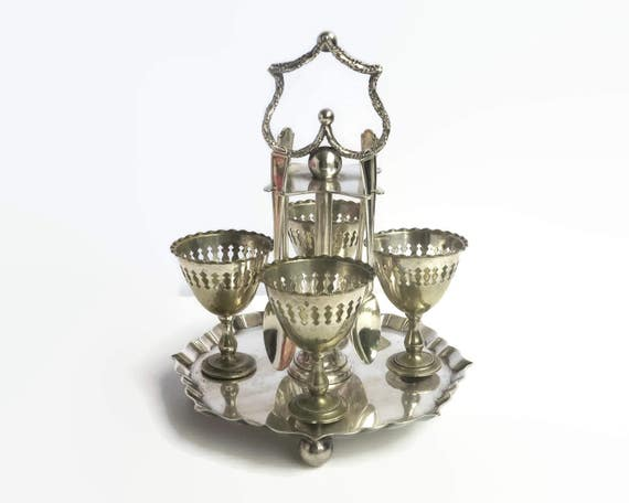 Antique silver plated egg cruet set, 4 egg cups and 4 spoons plus bonus spoon, made in Sheffield, England, Gothic Victorian, 1800s