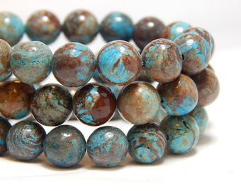 8mm Imperial Turquoise, 8mm Chocolate Jasper, 8mm Calsilica, Blue Gemstones, 8mm Imperial Jasper Beads, Jasper Gemstones, Blue Stones, B-21E
