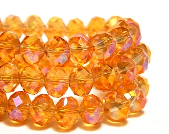 8x6mmTopaz Pink Beads,  Iridescent Crystal Beads, Melon Crystal Beads, Shiny Pink Beads, Melon Beads, AB Yellow Crystals, Unique Beads, D-G7