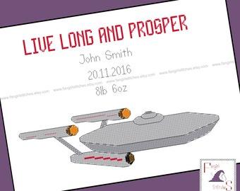 Star Trek themed Cross Stitch Baby Sampler Record - PDF Pattern - INSTANT DOWNLOAD