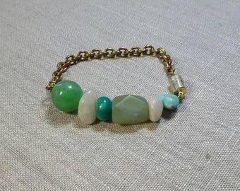 Multi Stone Chain Bracelet / Friendship Bracelet / Charm Bracelet / Stackable Bracelet / Boho / Tribal / Gypsy