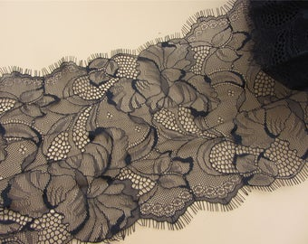 17cm Skirts lace fabric,Black cording Lace ,3 meters off white French Chantilly Lace ,Exquisite Eyelash Lace Trim,Wedding lace fabric