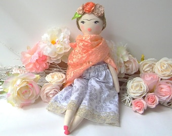 "Frida Kahlo Fabric Doll, cloth doll with a hand painted face 18"" doll in styled costume.  Brunette fabric doll. Beautful gift for any girl"