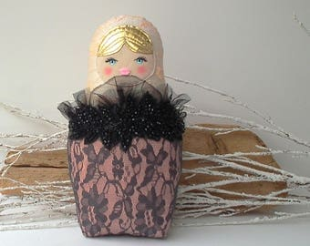 Matryoshka doll Babushka pillow, fabric russian doll. Silk and cotton fabric, coral, black, grey lace & bead work. Bedding decor, great gift