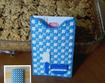 "Plastic Canvas: ""Delft Blue Kitchen"" Recipe Holder"