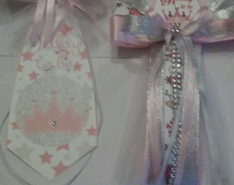 Baby shower Princess mommy to be corsage and daddy to be tie+ grandma corsage