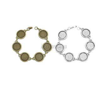 18mm Round Bezel Bracelet Blanks Forms fit 18mm Round Cabochons, Marbles, Resin, Buttons, Etc. Six 18mm round blank bezels  5 PCS M195