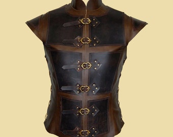 Reinforced jerkin for men made of leather - Deluxe-
