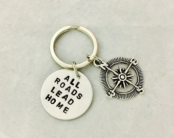 All Roads Lead Home Hand Stamped Keychain