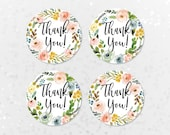 Printable Baby Shower Thank You Tags, Bridal Shower Thank You Stickers, 2 inch Round Tags, Mint Green, Blush Pink Watercolor Floral BLM