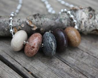 Lake Superior rock necklace, Lake Superior jewelry,  beach rock necklace, river rock, beach pebble cairn, Great Lakes, Minnesota north shore