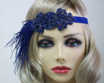 Blue 1920s headband, Flapper headband, 1920s headpiece, Great Gatsby headband, 1920s hair accessory, Feather headband, Vintage inspired