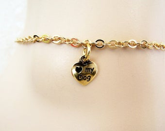 Love My Dog Charm Anklet, Silver or Gold Dog Charm Ankle Bracelet