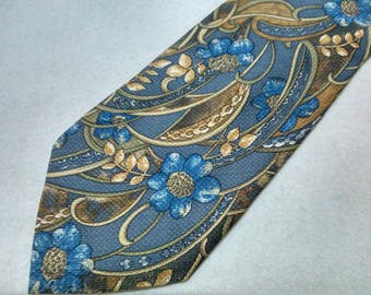 Vintage Enrico Coveri Necktie Floral Pattern Silk Tie Made In Italy