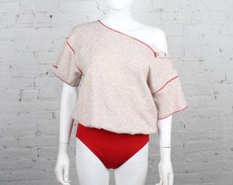 1980s Flashdance Bodysuit danskin leotard attached sweatshirt top red heather  L
